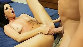 Brunette bends over for cock to get it deeper in her cunt.