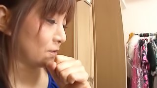 Soft stroking from her sexy Japanese hands makes him cum