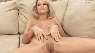 Hot mom drops her panties and shows off her pussy