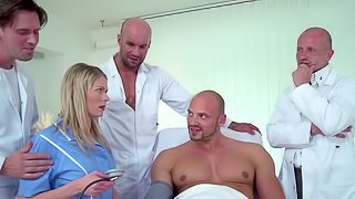 Sexy blonde hospital worker gets four dicks unsuspected