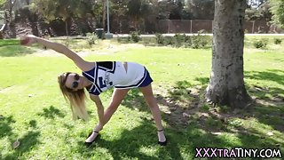 Tiny cheerleader fucked
