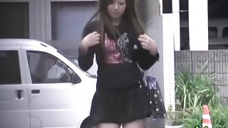 Exotic sweet Japanese bitch is walking in the street during quick sharking encounter