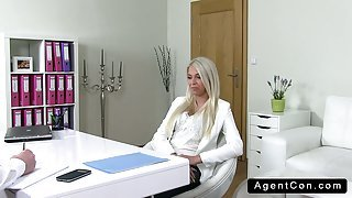 Nice ass blonde fucks on casting from behind