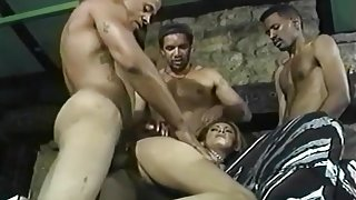 Busty Dominique Ass Fucked By Three Guys