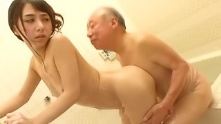 Lovely Caring Asian Teen Helps an Old Man in the Shower with a Handjob