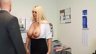 Banging his secretary Karen Fisher's enormous tits and pussy