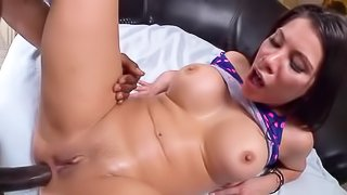 Asian slut gets her tight ass drilled