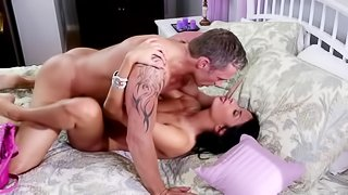 Two horny people are fooling around in a hot way on the bed here