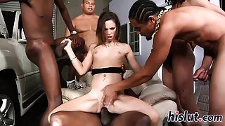 Hot interracial gangbang with a skinny brunette