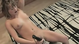 19 year old blondie in high heels gets drilled by a machine