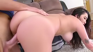Naughty girl is getting a dick placed inside her mouth and cunt