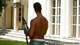 Gorgeous blonde gets fucked in the backyard by her gardener