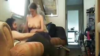 Nerdy couple homemade sextape on the sofa
