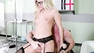 Blonde doc in black stockings and heels is humped and face-fucked by a ready stud.