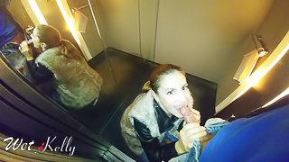 College girl blowjob in the elevator. WetKelly