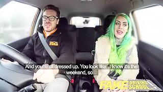 Fake Driving School Wild fuck ride for tattooed busty big ass beauty