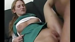 Shy Ginger college girl Gives In And Gets A Fuck !