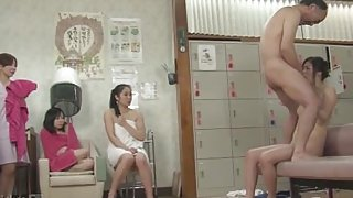 Old Guy Stops Time and Fucks Frozen Women in Spa (Uncensored JAV)