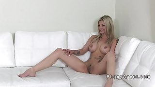 Fake big tits blonde gangbang on casting couch