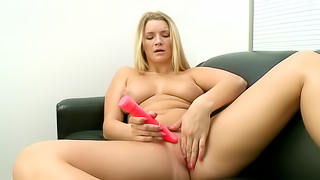 FIne blonde lady gets her pussy rammed hard during a interview