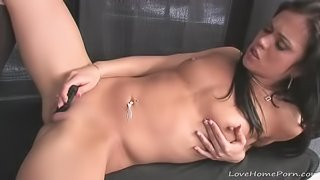 Girl uses a small vibrator to cum