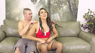 Stunning hottie Lilly Hall likes it when he bangs her on the couch
