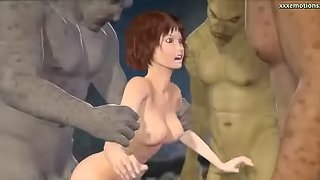 Sexy 3D brunette gets fucked by a few horny monsters