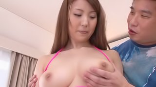 Asian Beauty In A Sexy Bikini Gets A Big Load Of Cum On Her Tits