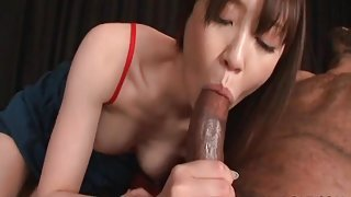 Japanese girl blows a horny black guy