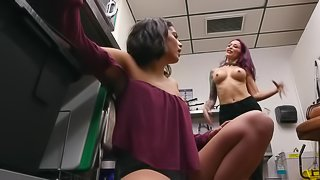 Lesbian MILF successfully seduces Latina girl in the kitchen