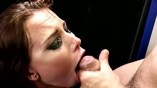 A girl with small boobs is sitting on top of a big hard cock