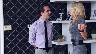 Big boobed blonde realestate agent gets fucked by a potential client
