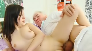 Old man fuck with a young cute brunette Alena