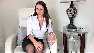 Hot brunette enjoys her interview