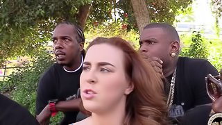 Chubby chick gets her ivory cunt smashed in interracial gangbang