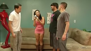 Lusty Asian cock whore in brown leather boots bangs three guys