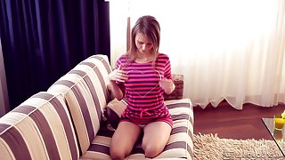Sensual teen with panties teases and touches her cunt