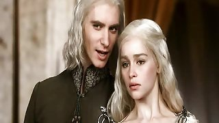Emilia Clarke having a guy lower her dress to go naked, the