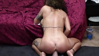 Horny wife cums hard riding dildo in 4 orgasm compilation