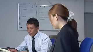 Skinny Japanese babe gives deepthroat blow job then gets pounded hardcore