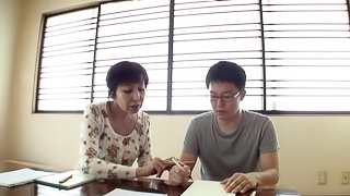 Private tutoring session gets freaky for horny Japanese babe