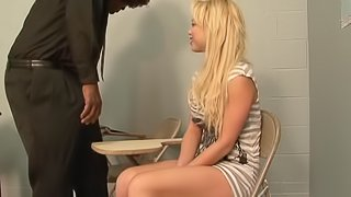 Salacious cowgirl delivering a steamy blowjob before getting hammered missionary
