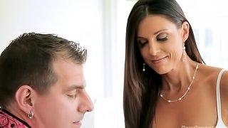 Cuckold hubby looks on as his hot bdsm fetish wife fucks a beefy black stud