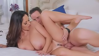 Chesty MILF allows stepson to touch her breasts and not only