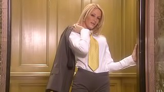 Hot office babe in glasses sucks four cocks in the elevator