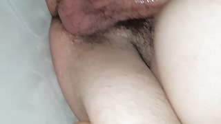 Wife riding friend in tent