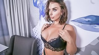 Stunning busty MILF Ivy Lebelle gives a sweet and wet blowjob
