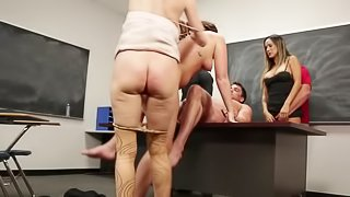 Teacher directs a sex education class on squirting fun