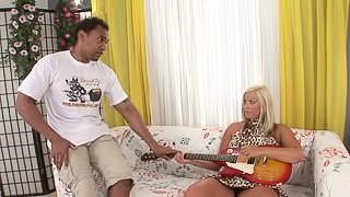 Cute blonde gasps as a monster black penis gradually slopes down her cunt