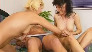 Check out this whore riding cowgirl during a threesome